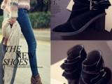2014春秋新款靴子欧美大牌圆头高跟短靴粗跟真皮皮带扣马丁靴单靴