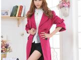 2014秋冬新款女装呢子大衣女装韩版中长款修身外套羊毛大衣批发