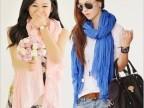 2014韩国新款纯色棉麻褶皱女士加长围巾 韩版大披肩 春秋丝巾