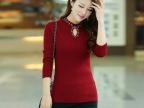 2014秋冬新款女装韩版大码修身羊毛衫女长袖圆领毛衣套头针织衫打