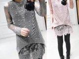 冬装新款韩版钉珠镂空修身针织背心蕾丝两件套针织衫女打底衫冬