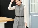 中长款毛呢上衣女 冬季新款女式棉马甲修身时尚韩版 配腰带 直销