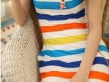 女装2014夏季新款Q928韩版U字领条纹性感连衣裙 背心裙 短