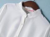 2014欧洲站新款衬衫女长袖小立领衬衣领