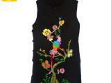 黑色棉马甲 民族风刺绣绣花修身黑色背心 棉麻文艺复古中长女上衣