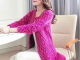 春新款女中长款开衫外套 韩版马海毛针织衫毛衫一件代发 厂价直销