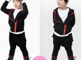 厂家外贸 2014韩版时尚秋新款 不对称翻领儿童两件套品牌男童套