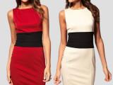 2014新款 欧美明星同款拼接包臀针织连衣裙背心裙拼色连衣裙 批
