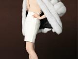 厂家直销新款2014欧美时尚宽松七分袖蓝狐中长款女外套一件代发