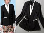 实拍韩版2014秋冬装新款OL修身双层领小西装女短外套 一件代发