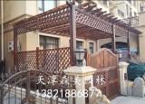 天津防腐木花架,炭化木葡萄架,围栏,户外地板
