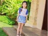 2015夏 亲子装母女 纯棉短袖T恤条纹短裙套装