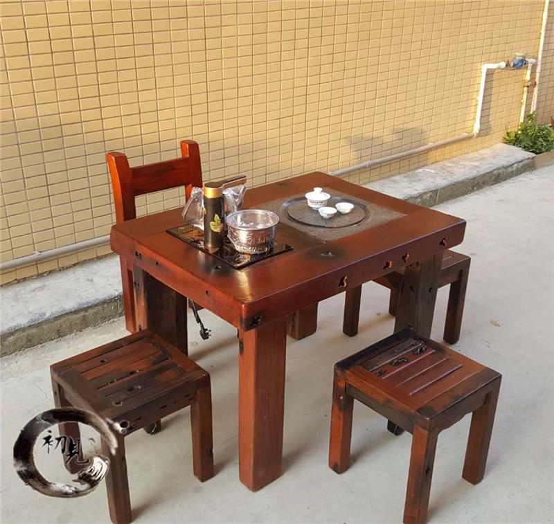 老船木实木家具厂家直销功夫茶台博古架茶水柜简约阳台小茶桌组合