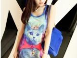 9829韩国梦幻猫咪长款背心 猫咪王子星空背心T恤