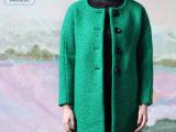 欧美秋冬新款品牌加厚直筒精品女装羊毛呢大衣女 呢子风衣大衣