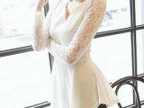 6287 韩版小V领收腰显瘦长袖雪纺上衣 气质蕾丝衫批发  代理
