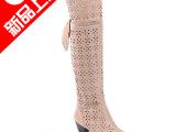 女鞋厂家直销牛皮网靴洞洞靴性感时尚女式靴子真皮单靴批发鞋代理