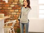 2014东大门新款女装韩国代购韩版加绒加厚长袖条纹T恤打底衫上衣