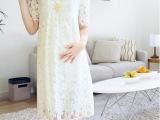 夏季时尚新款大码短袖孕妇裙薄款蕾丝宽松孕妇装夏装女装连衣裙潮