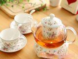 耐热玻璃茶具套件 壶容量800ml 配炉座两杯两碟花茶组带茶漏