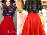 欧洲站明星同款复古波点雪纺上衣 红色高腰复古连衣裙2件套装女夏