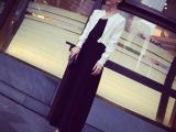 【艾佳依】2014年 **定制 春装新款 百搭开叉半身长裙小黑裙