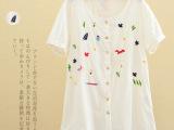 可混批日系森女系中长款短袖翻领刺绣白色衬衫上衣 2014新款春装