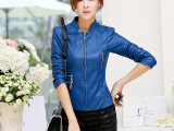 2015春季女装韩版新品纯色立领机车pu皮衣拼接女式皮衣