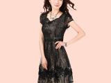 厂家肖销中老年短袖裙子妈妈装连衣裙烫金高档母亲裙子一件代发