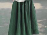 JY8020 2015夏装新款文艺松紧系带宽松纯色棉麻半身长裙