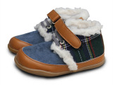 清仓儿童棉鞋YOOKIKI优雅格纹小棉鞋 羊羔绒保暖棉靴LQ55
