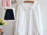 2013新款 森女系 日系 钩花娃娃领棉质长袖白衬衫