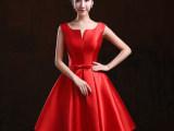 晚礼服短款新娘敬酒服红色结婚小礼服女主持人订婚宴会修身晚装秋
