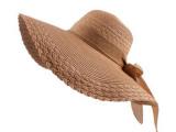 【淘货源】夏天女士沙滩蝴蝶结防晒太阳帽纯色透气大沿草帽子批发