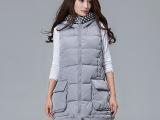 韩版羽绒棉连帽拼接撞色外套 2015新款女装高领中长款背心马甲