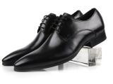 欧洲版型尖头宴会皮鞋男纯皮打造系带低帮真皮鞋商务正装男鞋37码