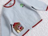 哥大鸭品牌厂家直销婴幼儿童装纯色简约清爽百搭纯棉毛衣开衫1302