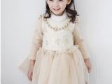 韩版女童装冬季上新 淑女款高领加绒网纱连