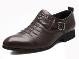 路易保罗 正品新款尖头男士英伦皮鞋真皮透气男士商务正装男鞋