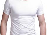 批发 夏装 圆领纯色韩版紧身男士短袖T恤打底衫 纯棉 男紧身 纯