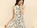 2014夏季新款韩版印花连衣裙 无袖连衣裙背心裙女