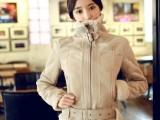 韩国机车大翻领皮毛一体加厚鹿皮绒羊羔毛外套短款保暖棉衣女