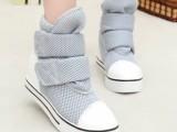 超透气网状女鞋潮韩版帆布鞋内增高鞋魔术贴厚底松糕鞋网布休闲鞋