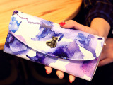 MJ059-A水墨小熊女士钱包皮夹2014新款欧美女式钱夹3折长