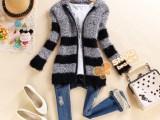 2014秋冬新款女装韩版长毛针织开衫长袖连帽衫条纹撞色毛衣外套