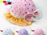 14年新款 高品质网纱 珍珠防晒儿童夏季帽子批发