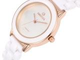正品女表 玫瑰金表女士白色陶瓷手表韩国潮流时尚大表盘手表
