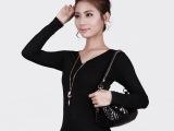 工厂直销 莫代尔新款韩版女装V领弹力打底衫女t恤纯色长袖2062