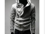 外贸EBAY速卖通批发 人气带帽情侣斜拉链外套卫衣 男装斜拉卫衣