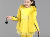 童装秋冬装新款潮韩版棉衣套装 中大童女童仿皮草加厚三件套
